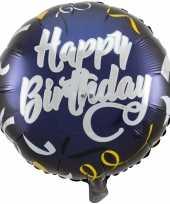 Folie ballon gefeliciteerd happy birthday donkerblauw 45 cm met helium gevuld