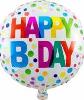 Folie ballon gefeliciteerd happy birthday gekleurde stippen 45 cm met helium gevuld