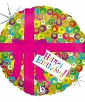 Folie ballon gefeliciteerd happy birthday roze strik 46 cm met helium gevuld