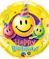 Folie ballon gefeliciteerd happy birthday smiley 45 cm met helium gevuld