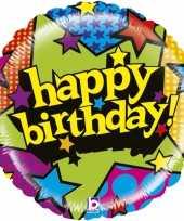 Folie ballon gefeliciteerd happy birthday sterren 53 cm met helium gevuld