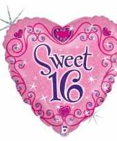 Folie ballon gefeliciteerd happy birthday sweet 16 16e verjaardag 46 cm met helium gevuld