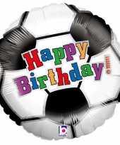 Folie ballon gefeliciteerd happy birthday voetbal 46 cm met helium gevuld