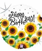 Folie ballon gefeliciteerd happy birthday zonnebloem 46 cm met helium gevuld