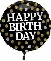 Folie ballon gefeliciteerd happy birthday zwart met stippen 45 cm met helium gevuld