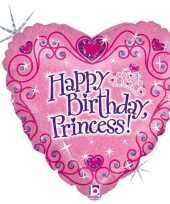 Folie ballon gefeliciteerd prinses happy birthday princess 46 cm met helium gevuld