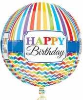 Folie ballon orbz rond gefeliciteerd happy birthday 40 cm met helium gevuld