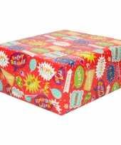 Inpakpapier kinder verjaardag spraak tekst ballon 200 x 70 cm